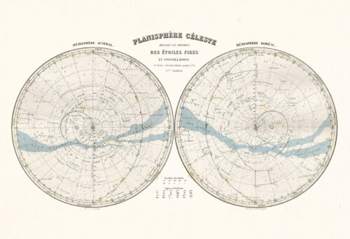 ANTIQUE CELESTIAL MAP Professional Reproduction Antique Map of the Stars V