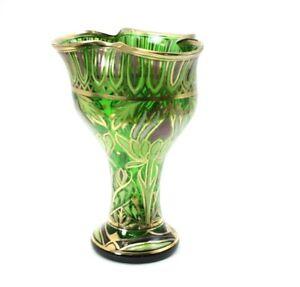 Antique Moser Art Glass Vase Enameled Art Nouveau Stunning Floral Motif