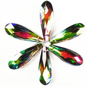 27x9x7mm Facetado Lágrima Colgante Perla Cristal Arco Iris De Titanio CG879 10 un