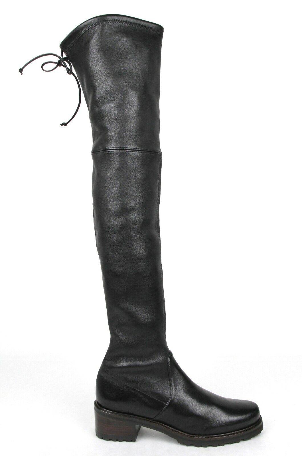 Stuart Weitzman Vanland schwarz Plonge Stretch Leder über dem Knie Stiefel