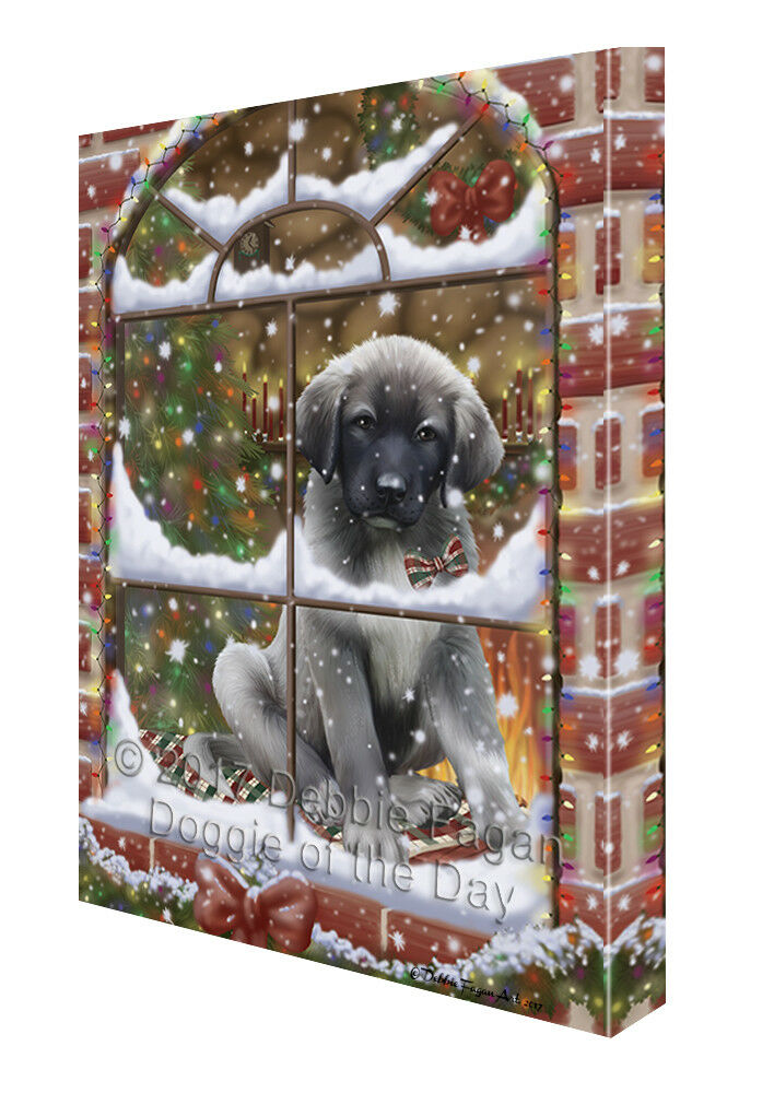 Please Come Home For Christmas Anatolian Shepherds Dog In Window Canvas Wall Art