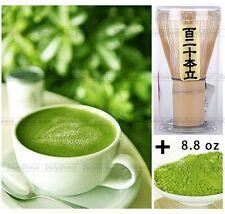 Natural Matcha Green Tea Powder 8.8oz/250g bag + Japanese Ceremony Chasen Whisk