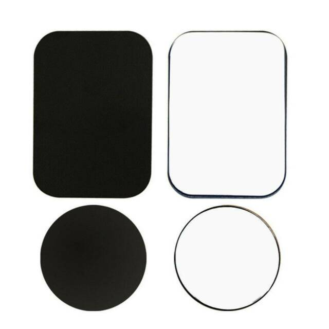 Mount Metal Plate for Cell Phone Magnet Holder Magnetic Car Mount with Strong Adhesive Sticker 2 Round and 2 Rectangle Black