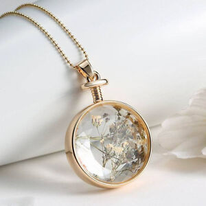 Women transparent natural real dried flower round glass locket image is loading women transparent natural real dried flower round glass mozeypictures Images