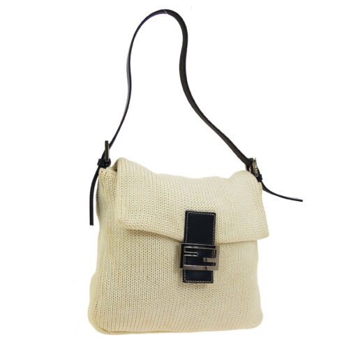 FENDI Mamma Baguette Shoulder Bag Purse Ivory Navy
