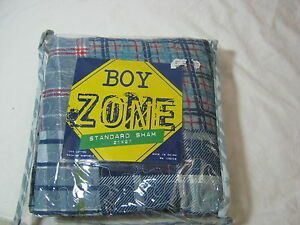 New Boy Zone Standard Quilt Pillow Sham Guitar Plaid Red
