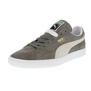 Image is loading Puma-Suede-Classic-Grey-White-Mens-Shoes-New-