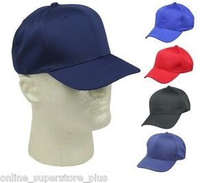 a43e479b9d Boys Baseball Caps Youth Blank Plain Kids Size Hat Red Navy Black ...