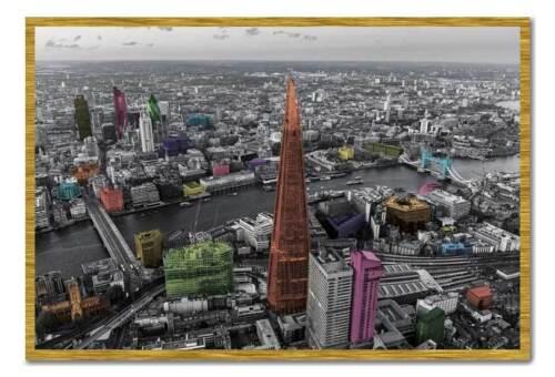 Framed London Shard /& The City Colour Splash Poster Ready To Hang Frame