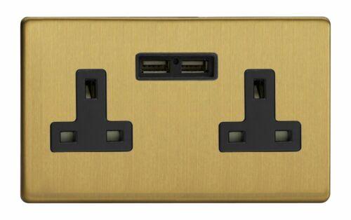 Varilight XDB5U2BS Screwless brossé Laiton 2 Gang Interrupteur Socket 13 A 2.1 A USB