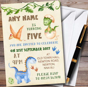 Image Is Loading Watercolour Cute Dinosaur Personalised Childrens Birthday Party Invitations