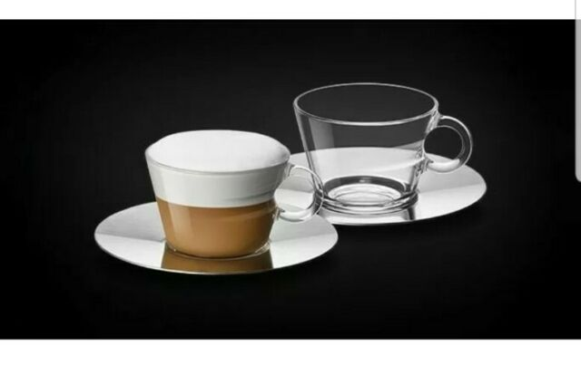 NEW Nespresso View cappuccino 2 Glass Cups 2Metal saucers & 2 Stencils