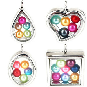 Silver-Beads-Cage-Glass-Locket-Pearl-Cage-Floating-Pendant-Gift