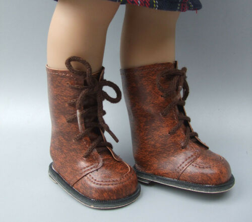 """Vintage Brown Leather Doll Boots Shoes  Fit For 18/"""" Inch Girl doll Accessories"""