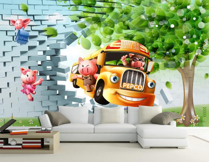 3D Gelb Bus Tree Cartoon 788 Wall Paper Wall Print Decal Wall AJ WALLPAPER CA