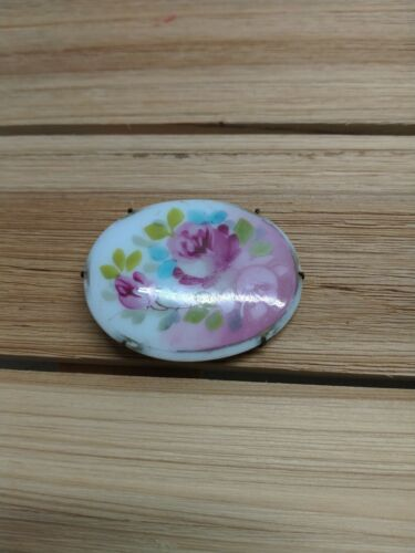 Vintage Oval Hand Painted Flower Porcelain Brooch