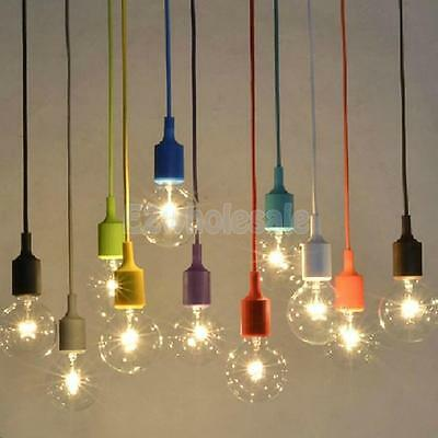 Colorful Silicone E27 Home Ceiling Pendant Lamp Light Bulb Holder with 1M Wire