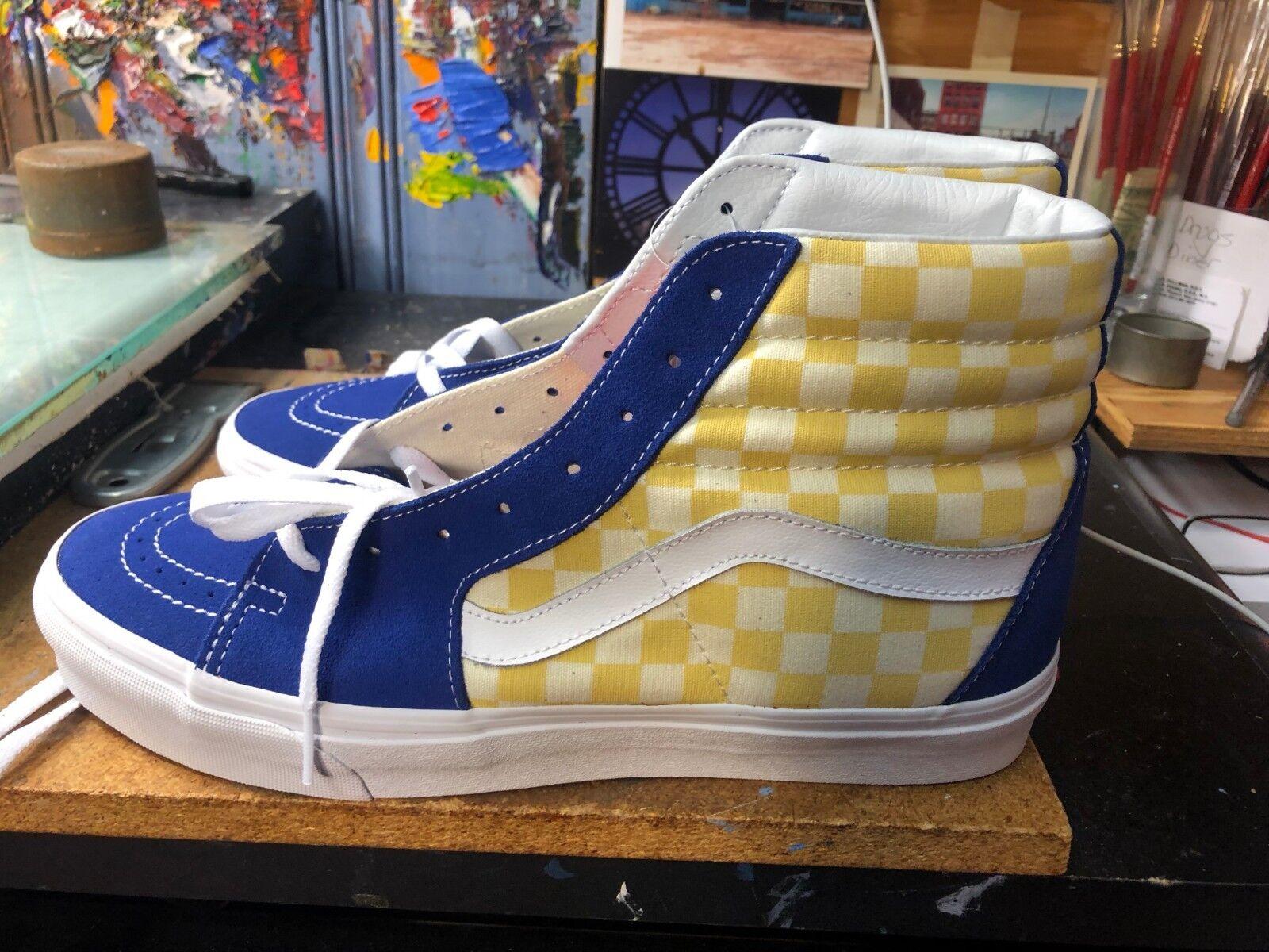 Vans SK8-Hi (BMX de tablero de ajedrez) True azul amarillo US 11 para hombres VN0A38GEU8I