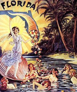Image Is Loading GIRL MERMAIDS LAKE FLORIDA ISLAND FLOWERS CORNUCOPIA TRAVEL