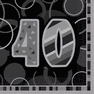 16-x-BLACK-GLITZ-AGE-40-NAPKINS-33cm-3ply-PARTY-TABLEWARE-40th-NEW-BOYS-BIRTHDAY