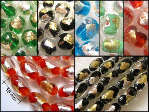 6 Perles verre façon murano lampwork feuilles OR//ARGENT