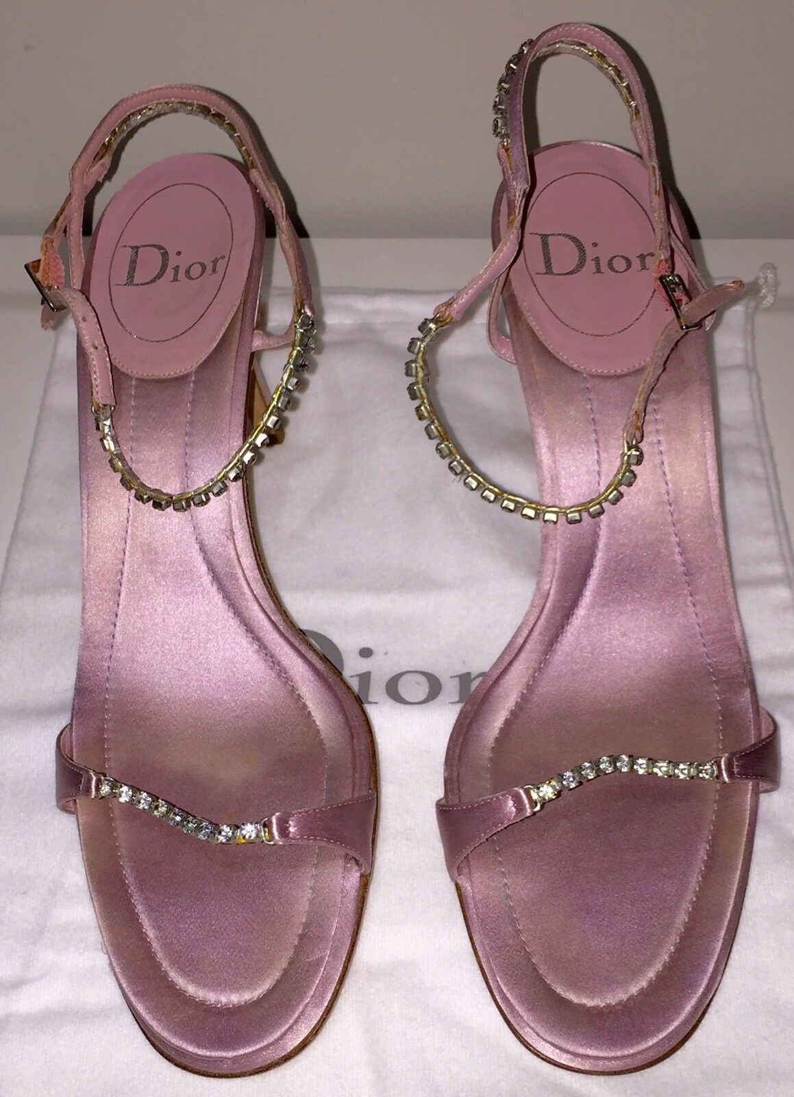 vendita economica DIOR Designer Sandali di raso rosa con con con cristalli Taglia 40.5 EU  vendita calda