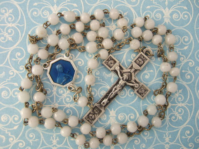 Vintage Catholic Rosary 4mm glass beads ST. THERESE blue enamel medal France