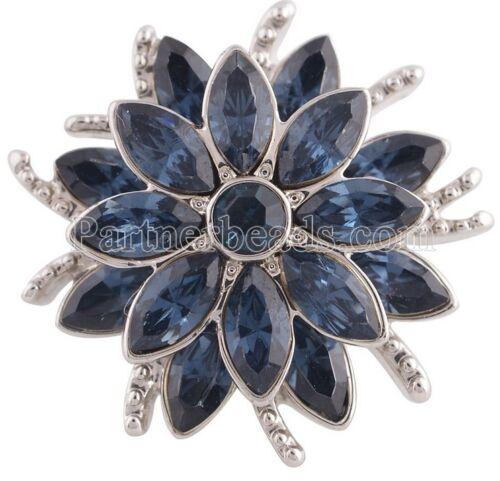 Argent Bleu Strass Fleur 20 mm Snap Charm Bijoux pour Ginger Snaps