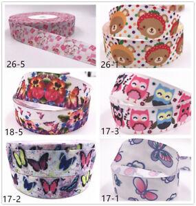 Wholesale-1-10yds-1-039-039-25mm-owl-printed-grosgrain-ribbon-Hair-bow-sewing-Ribbon