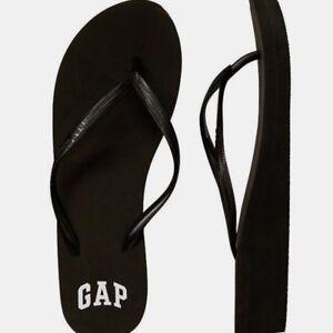 BNEW-GAP-Logo-Womens-Wedge-Sandals-Slippers-Flip-flop-Size-6-Black