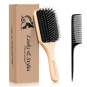 Hair Brush, Sosoon Boar Bristle Paddle Hairbrush for Long Thick Curly Wavy Dry &