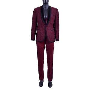 7d4fc112b38d Details about DOLCE   GABBANA Baroque Trimmed 3D Embroidery Suit Blazer Pants  Red Black 06919