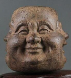 Collectibles-Chinese-Hand-Carved-wooden-Tibetan-Buddhism-Buddha-head-Statues-N