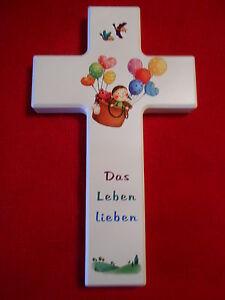 Kinderkreuz weiß lackert mit Spruch Holzkreuz  Wandkreuz Motiv Ballon 20 x 12 cm
