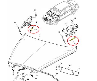 Bentley Continental GT Gtc Flying Spur hood shocks lift support #4153
