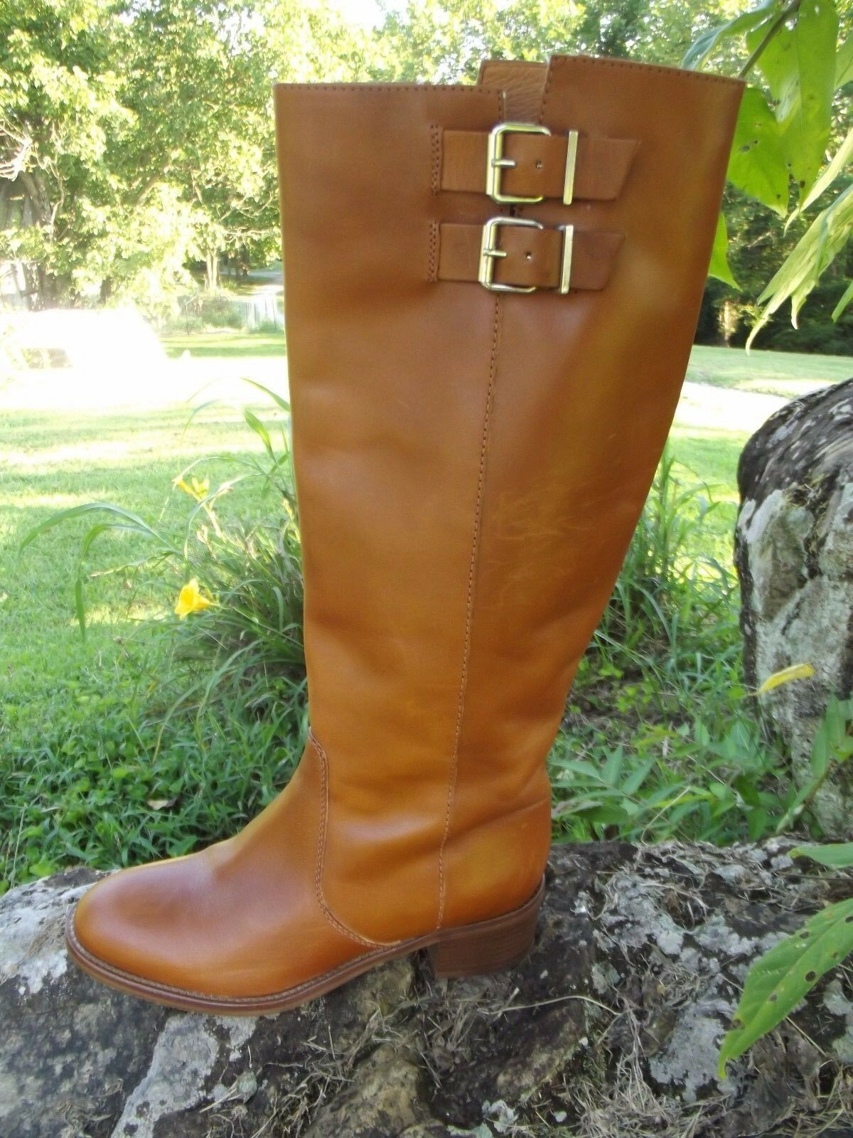 NEW J.Crew Sz 6 Dean Leather Knee Boots Cognac Brown SOLD OUT Has Some Scratches