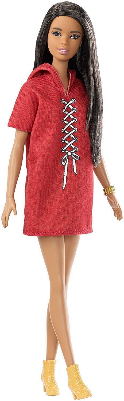 Barbie Fashionista Bambola 32cm, mora e look con abito, rosso Mattel FJF49