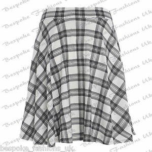 f7bb2f9b82b Ladies Women  s Plain Stretchy Elasticated Flared Skater Skirt Plus Size 14- 28