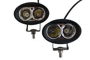 Spot Fog Lights for Motorbike Trike Black Oval CREE LED 10W ea - PAIR