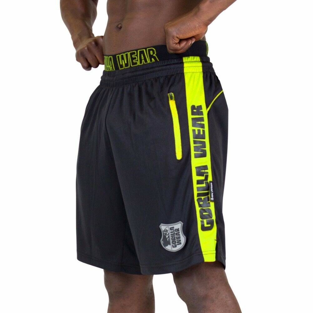 Gorilla Wear Shelby Shorts – nero Neon Lime BODYBUILDING FITNESS