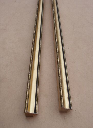 longueur 66 cm Lot de 2 anciennes baguettes en bois doré des années 1960