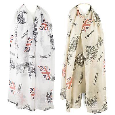 GB Newspaper Scarf Shawl UK Flag Print Union Jack London Souvenir Long Neck Wrap