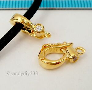 1x-18K-GOLD-plated-STERLING-SILVER-cz-CHANGEABLE-PENDANT-CLASP-ENHANCER-G215