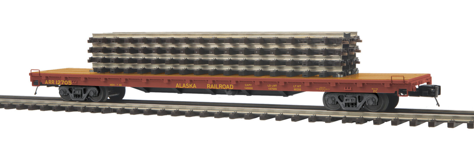 MTH 20-95143 O Alaska 60' Flat Car with 4 ScaleTrax 10  Straights