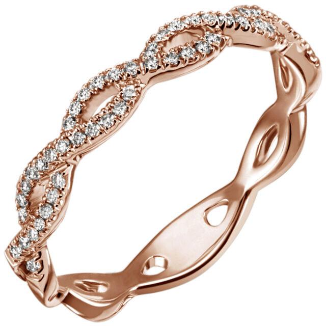 JOBO Damen Ring 56mm 585 Gold Rotgold 49 Diamanten Brillanten 0,22ct. Goldring