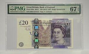 PMG 67 EPQ  - GB Twenty Pound Note - 2015 - CLELAND - £20 - SUPERB GEM UNC