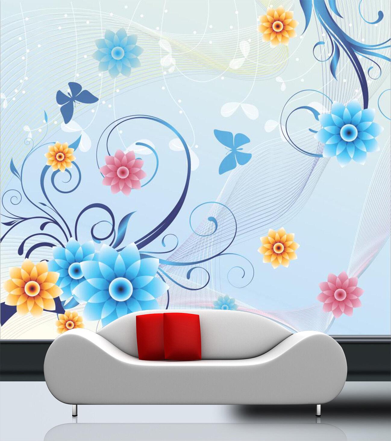 3D Blau Flower Butterfly 75 Wallpaper Mural Paper Wall Print Wallpaper Murals UK