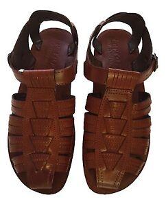 Pour Biblique Hommes Sandales Pêcheur Chaussures Brun Cuir En De 0X6qXwZ