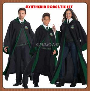 Harry-Potter-Adult-Children-Wizard-Cloak-Slytherin-Robes-Cape-Tie-Set