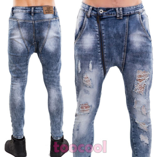 Jeans uomo pantaloni skinny elasticizzati aderenti cavallo basso nuovi RS-7329